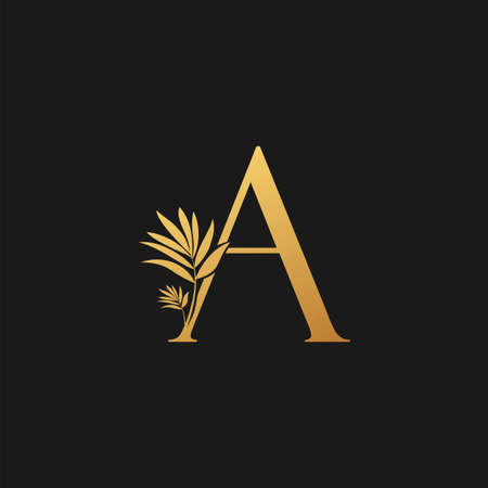 Golden Letter A Classic Vintage Icon. Vintage design concept classic vector nature leaves with letter icon gold color.