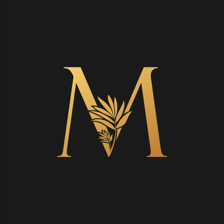 Golden Letter M Classic Vintage Icon. Vintage design concept classic vector nature leaves with letter icon gold color. Stock Illustratie
