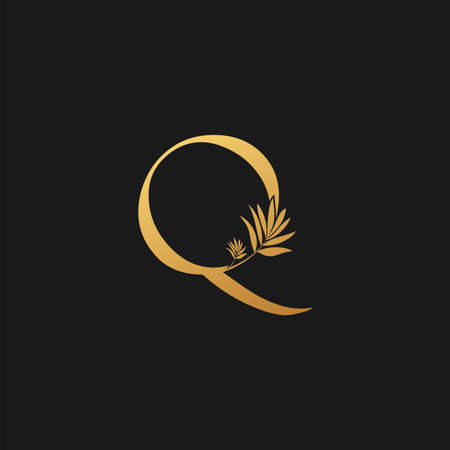 Golden Letter Q Classic Vintage Icon. Vintage design concept classic vector nature leaves with letter icon gold color. Stock Illustratie