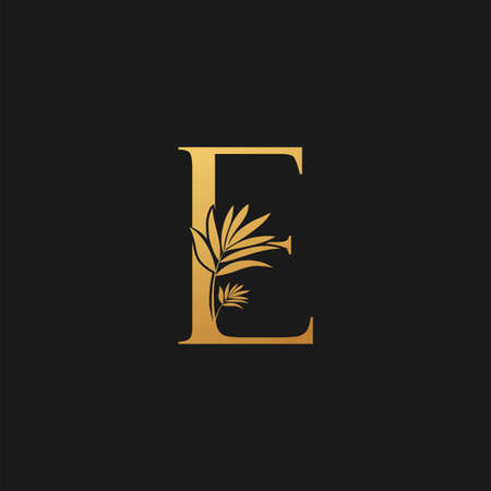 Golden Letter E Classic Vintage Icon. Vintage design concept classic vector nature leaves with letter icon gold color.
