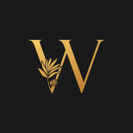 Golden Letter W Classic Vintage Icon. Vintage design concept classic vector nature leaves with letter icon gold color. Stock Illustratie