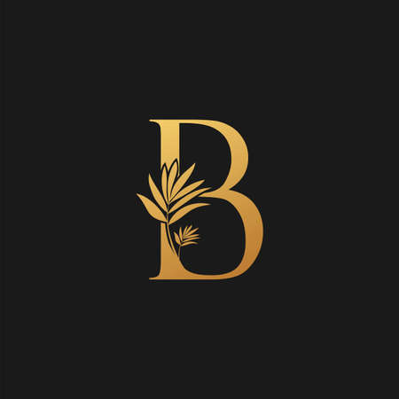 Golden Letter B Classic Vintage Icon. Vintage design concept classic vector nature leaves with letter icon gold color.