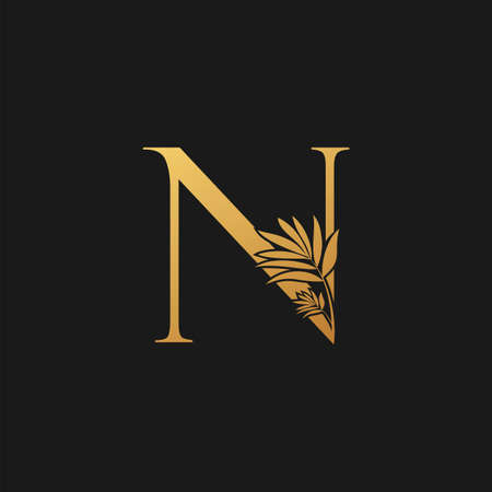 Golden Letter N Classic Vintage Icon. Vintage design concept classic vector nature leaves with letter icon gold color.