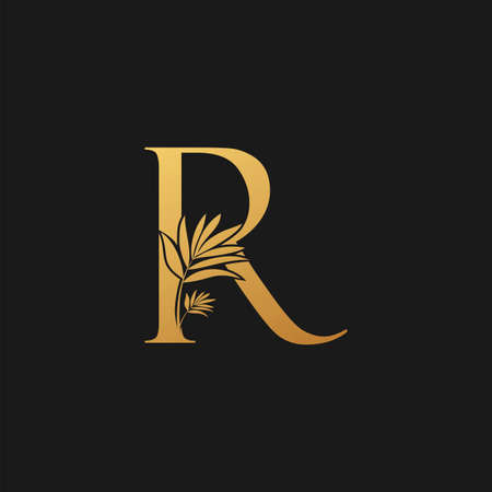 Golden Letter R Classic Vintage Icon. Vintage design concept classic vector nature leaves with letter icon gold color.