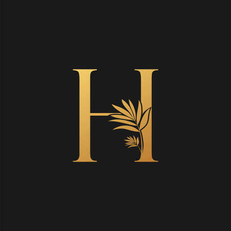 Golden Letter H Classic Vintage Icon. Vintage design concept classic vector nature leaves with letter icon gold color.