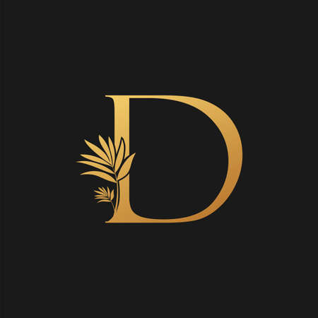 Golden Letter D Classic Vintage Icon. Vintage design concept classic vector nature leaves with letter icon gold color. Stock Illustratie