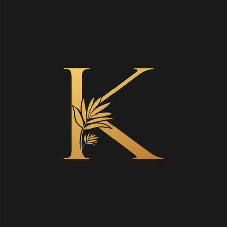 Golden Letter K Classic Vintage Icon. Vintage design concept classic vector nature leaves with letter icon gold color. Stock Illustratie