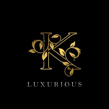Gold Outline Letter K Luxury Icon, Vintage Gold K Letter