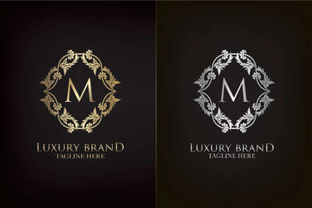 M Letter Luxury Frame Decoration Initial Logo, Elegance Gold and Silver Ornate Emblem Decorative Frame for wedding or boutique Logo identity Vector Design