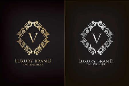 V Letter Luxury Frame Decoration Initial Logo, Elegance Gold and Silver Ornate Emblem Decorative Frame for wedding or boutique Logo identity Vector Design