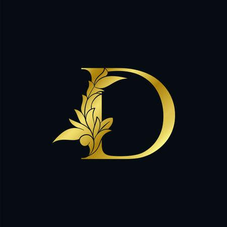 Gold luxury Floral Leaf Initial Letter D Logo Concept Monogram Ornate Leaves Vector Design Logo
