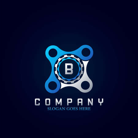 Letter B Logo, Abstract Technology and Industrial Service Concept Gear and Bracket Initial Logo Vector Design.