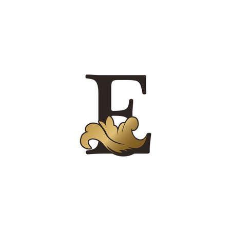 Monogram E Letter Logo Luxury Swirl Ornate Ornament Vector Template Design