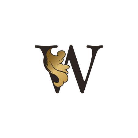 Monogram W Letter Logo Luxury Swirl Ornate Ornament Vector Template Design