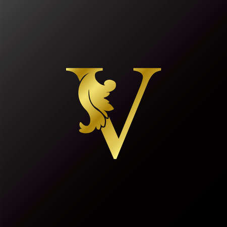 Gold Flourish Letter V Decorative Logo Icon, Luxury Design Swirl Ornate Ornamental Vector Design Logo