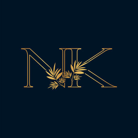 Golden Classic Vintage Nature Outline Initial Letter N, K, NK logo icon. Vector logo design concept classic vintage nature leaves with letter logo icon.