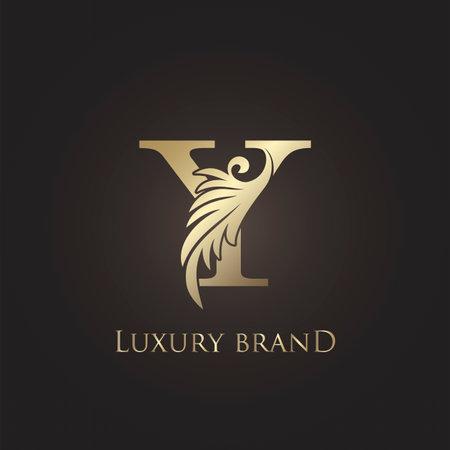 Luxury Letter Y Logo Gold Monogram Feather Decorative Ornate Ornament Vector Design Template