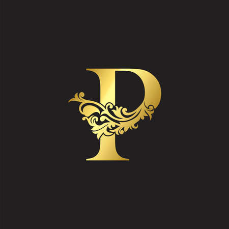 Golden Luxury Letter P Icon Template. Vector design ornate with elegant decorative style.