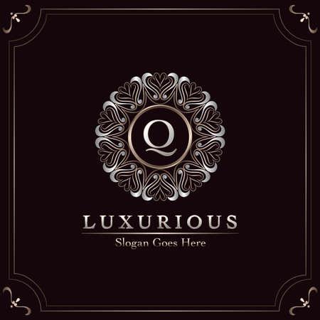 Elegance Ornate Luxury Mandala Badge Letter Q Logo Design Decorative Frame Template Logo