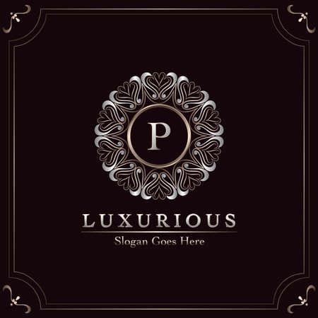 Elegance Ornate Luxury Mandala Badge Letter P Logo Design Decorative Frame Template Logo