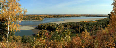 View of the Ob river in the autumn Stock Photo