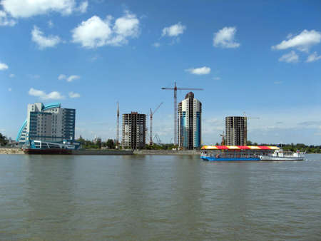 Construction of new high-rise buildings on the river