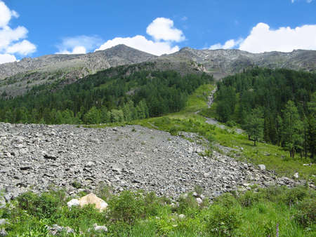 Moraine  Glacial deposition of stones Altai Mountains, Lake Multinsky