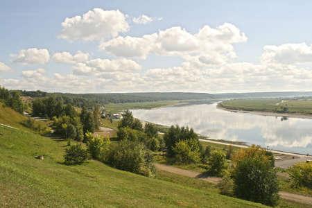 Landscape Tom river camp garden, Tomsk