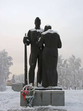 Sculptural group  Farewell   Memorial of Glory in Victory Square, Barnaul Editorial