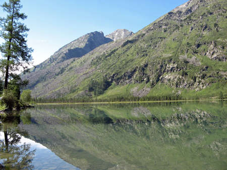 Multinskoe lake in the background of mountains and sky Stock Photo