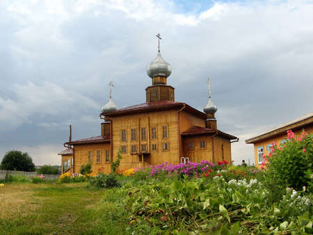 Countryside Church of St  Nicholas in Zalesova  Altai Stock Photo