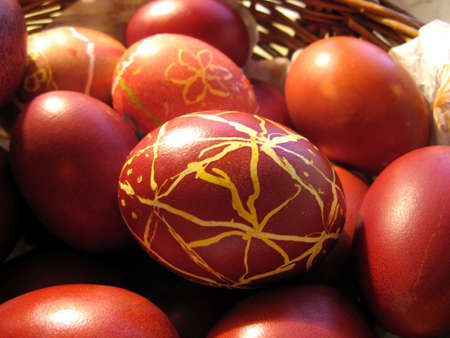 Red Easter eggs with a pattern Stock Photo