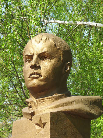 Memorial bust of a warrior-hero Alexander Matrosov Stock Photo