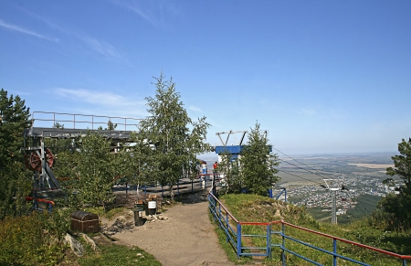 View on the cable car in Altai