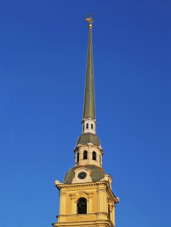 Spire on the Cathedral of the Peter and Paul in Saint Petersburg Stock Photo