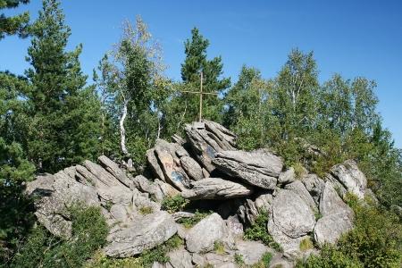 Rock on Mount Tserkovka in Belokuriha Stock Photo