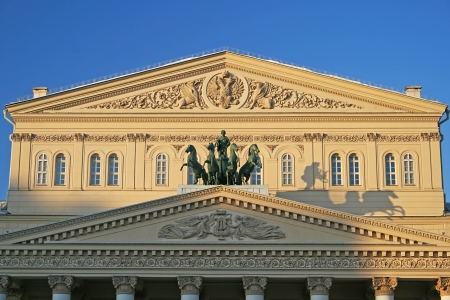Quadriga bronze horses of the Bolshoi Theatre in Moscow Editorial