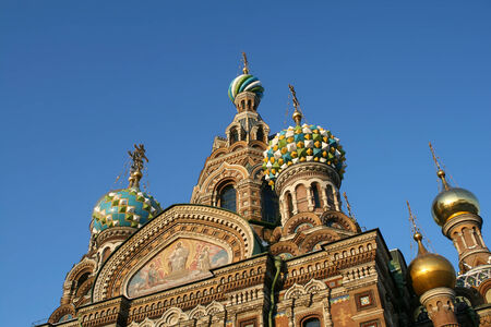 Church of the Savior on Spilled Blood, detail in Saint Petersburg Stock Photo