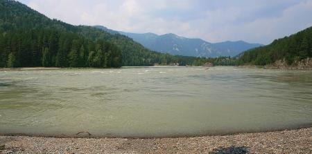 Mountain river Katun near Ust-Muna in Altai