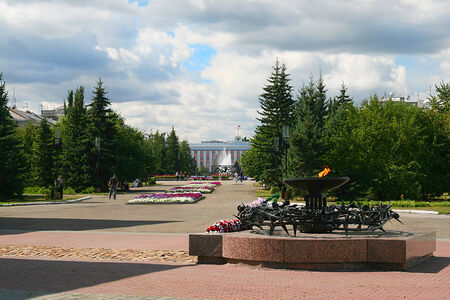 Eternal Flame soldiers-internationalists in square of Barnaul