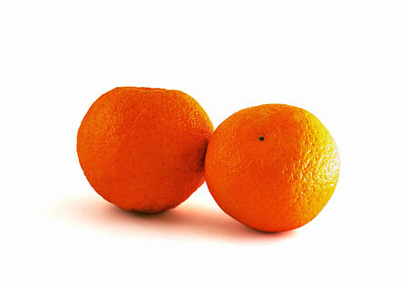 Two tangerines on white background