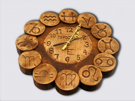 Wooden clock with zodiac signs