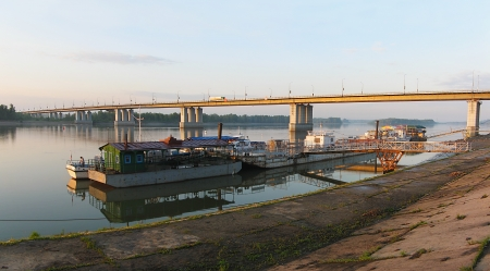View of the bridge across the Ob River and marinas in Barnaul