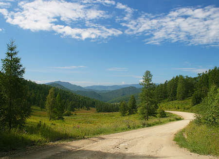 Road in Altai Mountains