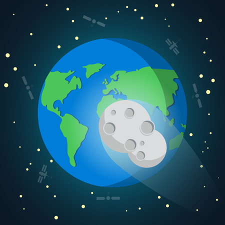 Asteroid meteor falls to the Earth.asteroid above to impact. Vector illustration. Illustration