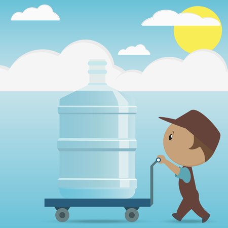 Flat man with big plastic bottle for water cooler on cart. delivery concept. vector illustration in flat style on sky background.