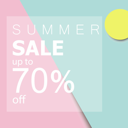 Summer sale up to 70 off. white text and tag on fresh summer colored background.minimal design. Иллюстрация