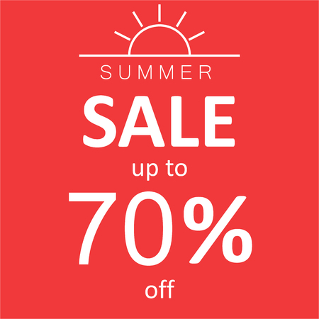 Summer Sale on red background with sun icon.Minimal design.flat lay.