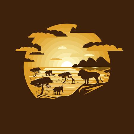 Afrikanische Savannenlandschaft der Illustration mit wilden Tieren. Negativer Raum. Flaches Design Vektorgrafik