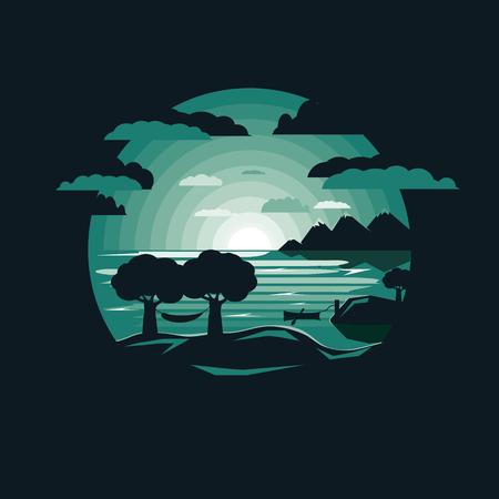 Silhouette amaca sul monte in riva al lago con barca. Cielo notturno. Design piatto dello spazio negativo Vettoriali